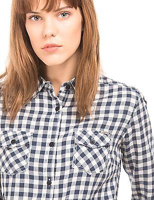 Flying Machine Women Check Regular Fit Shirt