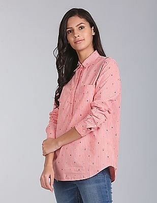 GAP Arrow Print Stripe Boyfriend Popover Shirt