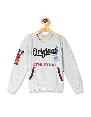 Cherokee Grey Boys Crew Neck Appliqued Sweatshirt