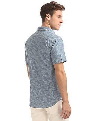 Aeropostale Reverse Print Chambray Shirt