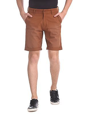 Flying Machine Solid Flat Front Shorts