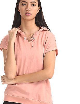 SUGR Pink Short Sleeve Hooded Active Sweatshirt