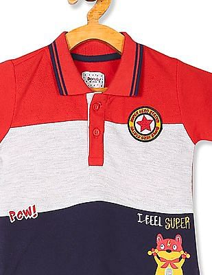 Donuts Multi Colour Boys Panelled Polo Shirt