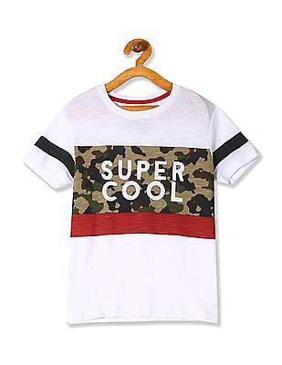 FM Boys Boys Camo Print Crew Neck T-Shirt