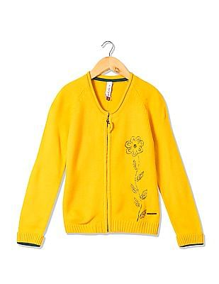 U.S. Polo Assn. Kids Girls Embroidered Front Zip Up Cardigan