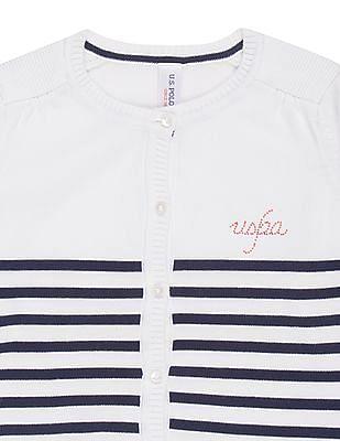 U.S. Polo Assn. Kids Girls Striped Ribbed Trim Cardigan