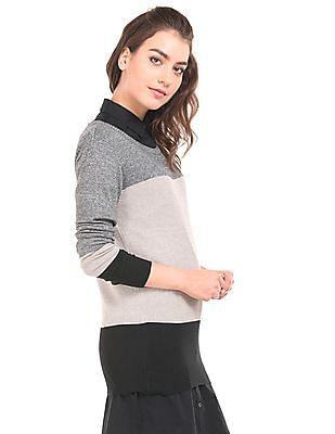 U.S. Polo Assn. Women Heathered Colour Block Sweater