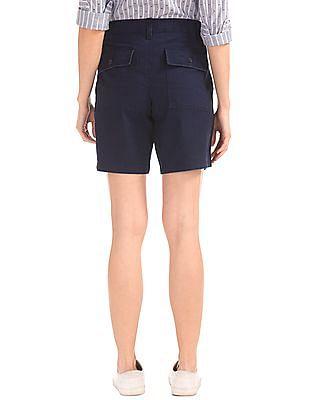 GAP Women Blue Girlfriend Rolled Utility Shorts