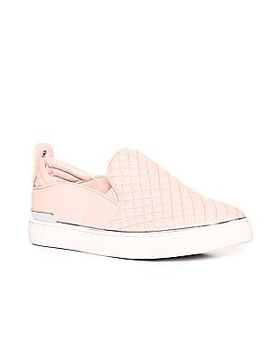 Stride Pink Metallic Accent Quilted Slip On Shoes