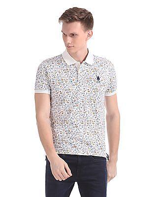 U.S. Polo Assn. Floral Print Pique Polo Shirt