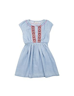 Cherokee Girls Chambray Fit And Flare Dress