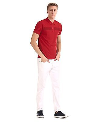 Roots by Ruggers Red Short Sleeve Printed Panel Polo Shirt