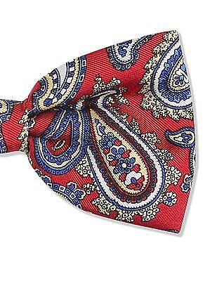 True Blue Paisley Pattern Silk Bow Tie