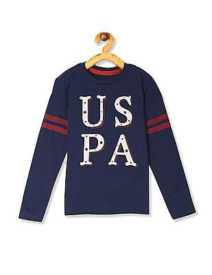 U.S. Polo Assn. Kids Blue Boys Long Sleeve Printed T-Shirt