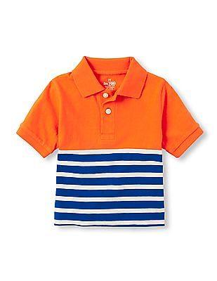 The Children's Place Toddler Boy Orange English Stripe Polo