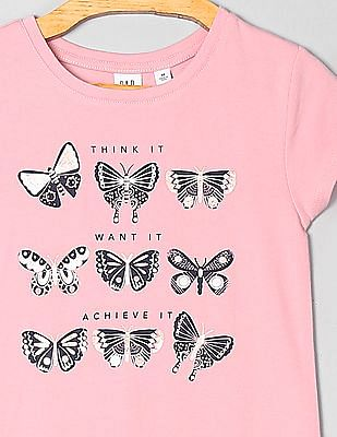 GAP Girls Crew Neck Graphic T-Shirt
