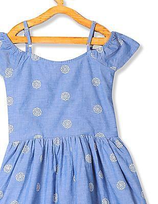 U.S. Polo Assn. Kids Girls Cold Shoulder Embroidered Dress