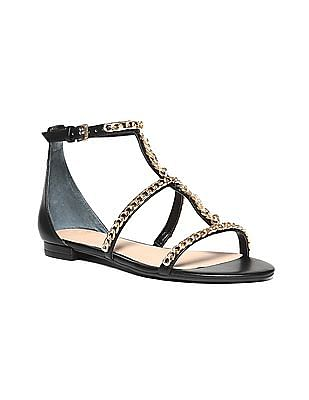 GUESS Metallic Strap Flat Sandals