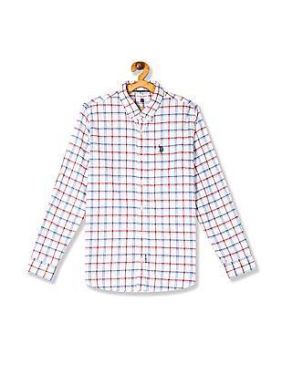 U.S. Polo Assn. Kids White Boys Check Button Down Shirt