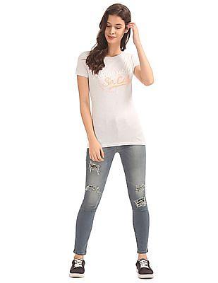 Aeropostale Brand Applique Brushed T-Shirt
