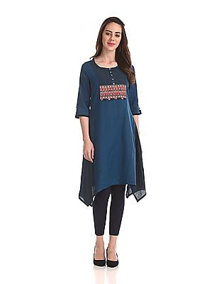 Anahi Printed Panel Round Neck Kurta