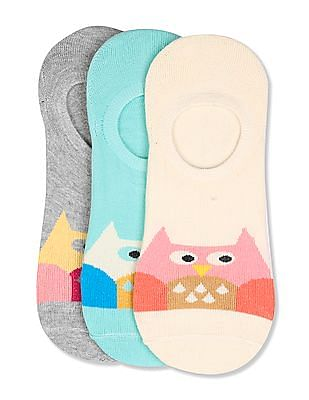 Unlimited Assorted Owl Pattern No Show Socks - Pack Of 3