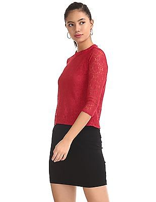SUGR Red Band Neck Lace Top