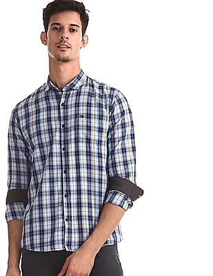 Roots by Ruggers Blue Contemporary Regular Fit Cutaway Collar Shirt