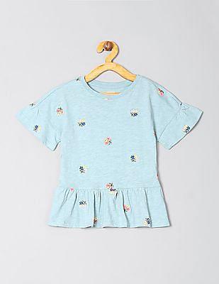 GAP Girls Embroidered Peplum T-Shirt