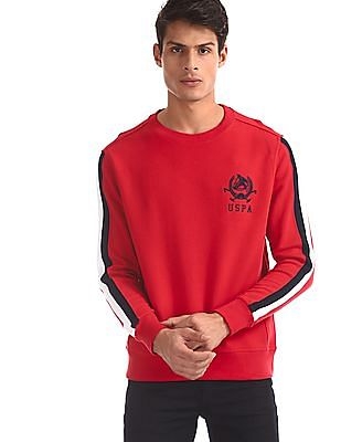U.S. Polo Assn. Red Panelled Sleeve Crew Neck Sweatshirt