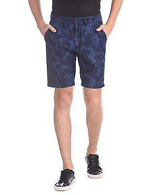 Flying Machine Chambray Printed Shorts