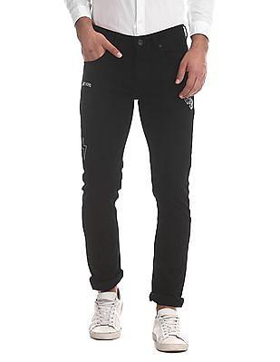 Colt Black Skinny Fit Appliqued Jeans