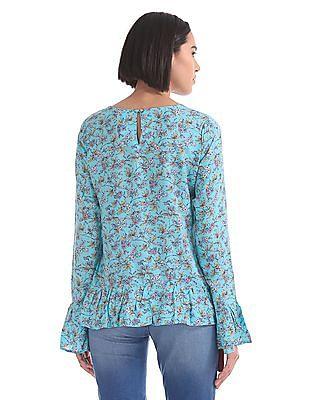 U.S. Polo Assn. Women Ruffle Hem Floral Print Top