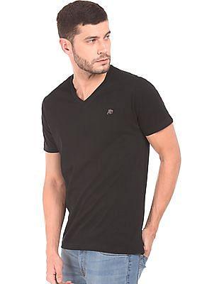 Aeropostale Solid V-Neck T-Shirt