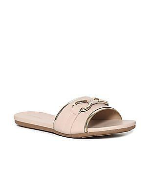Stride Beige Metallic Bow Open Toe Sandals