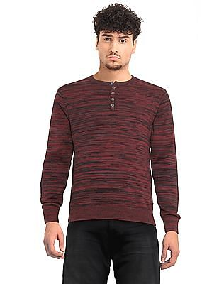 Cherokee Red Henley Neck Heathered Sweater