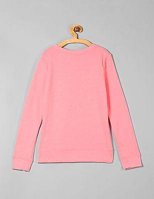 GAP Girls Pink Glitter Print Full Sleeve Sweatshirt