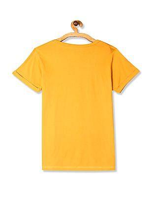 Cherokee Yellow Front Print Round Neck T-Shirt