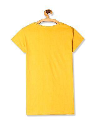 SUGR Yellow Ribbed Neck Graphic Print T-Shirt