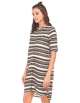 Cherokee Striped Concealed Placket Shirt Dress