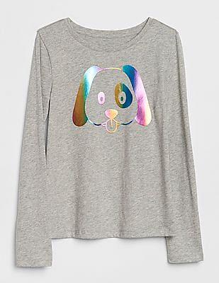 GAP Girls Grey Graphic Print Long Sleeve T-Shirt