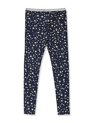 U.S. Polo Assn. Kids Blue Girls Shimmery Waistband Star Print Leggings