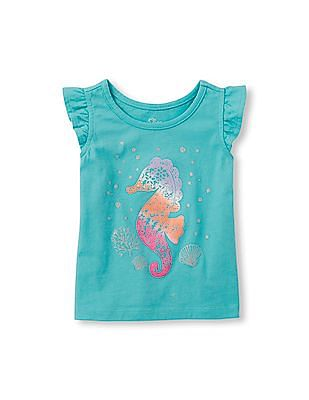 The Children's Place Toddler Girl Flutter Sleeve Embellished Graphic Top