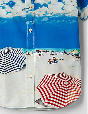 GAP Boys Multi Colour Photo-Real Coast Shirt
