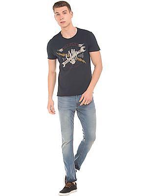 Ed Hardy Graphic Print Raw Edge T-Shirt
