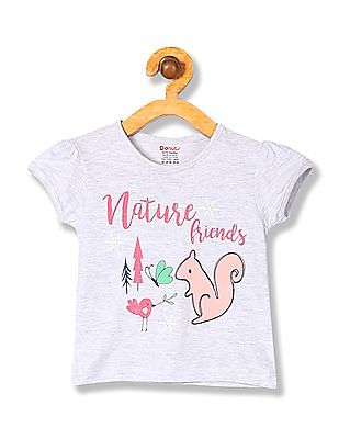 Donuts Girls Short Sleeve Contrast Print T-Shirt