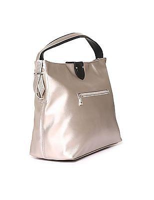 U.S. Polo Assn. Women Embellished Strap Metallic Hand Bag