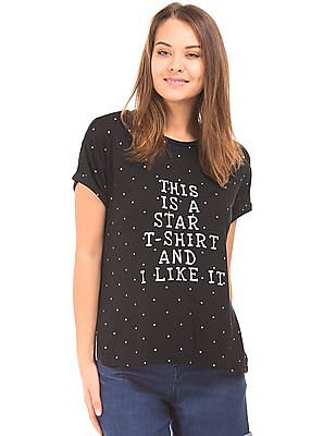 SUGR Star Print High Low Hem Top