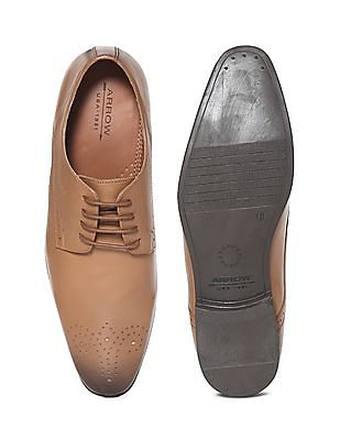 Arrow Brown Brogued Leather Derby Shoes