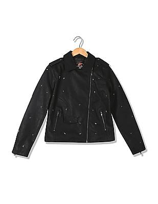 EdHardy Women Standard Fit Studded Biker Jacket